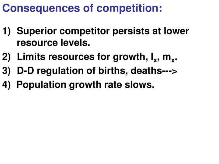 Consequences of competition: