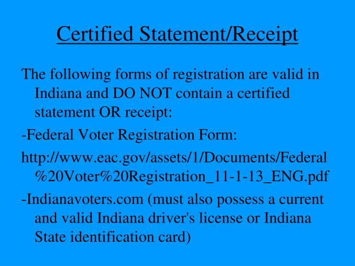 Certified Statement/Receipt