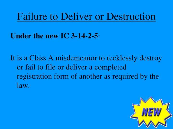 Failure to Deliver or Destruction