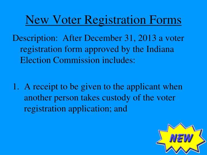 New Voter Registration Forms