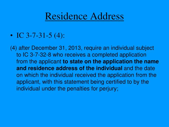 Residence Address