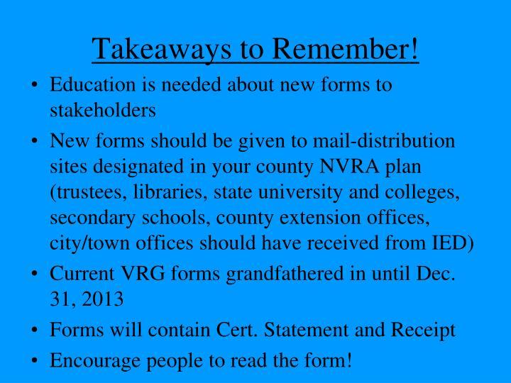 Takeaways to Remember!