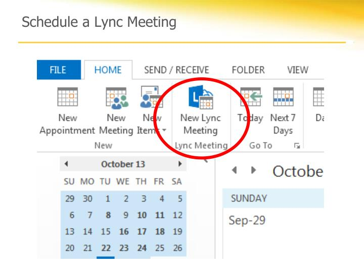 Schedule a Lync Meeting