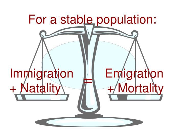 For a stable population: