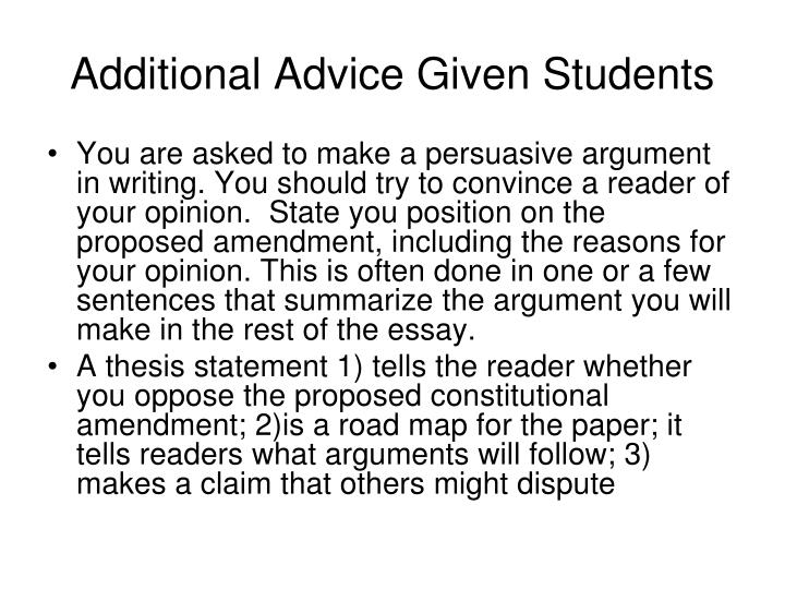 Additional Advice Given Students