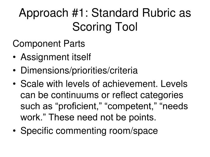 Approach #1: Standard Rubric as Scoring Tool