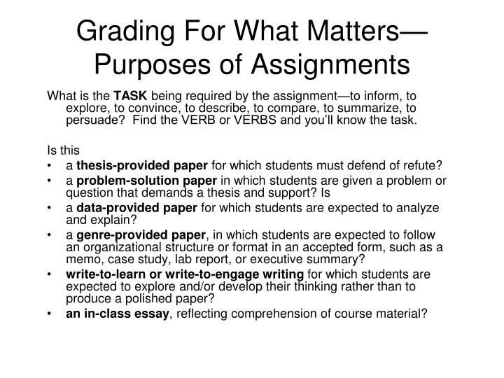 Grading for what matters purposes of assignments