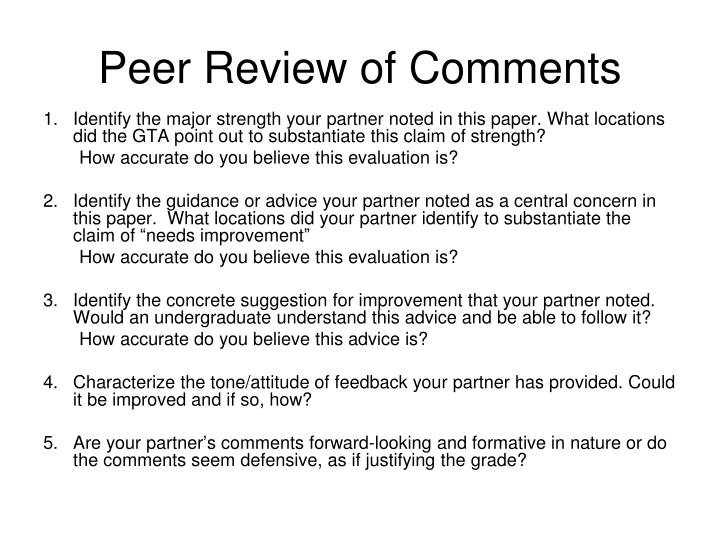 Peer Review of Comments