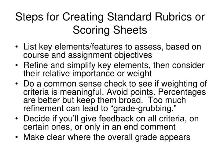 Steps for Creating Standard Rubrics or Scoring Sheets