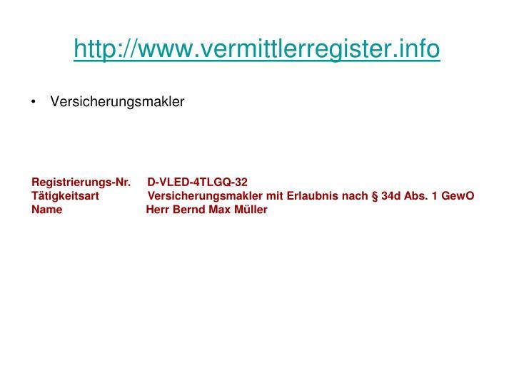 http://www.vermittlerregister.info
