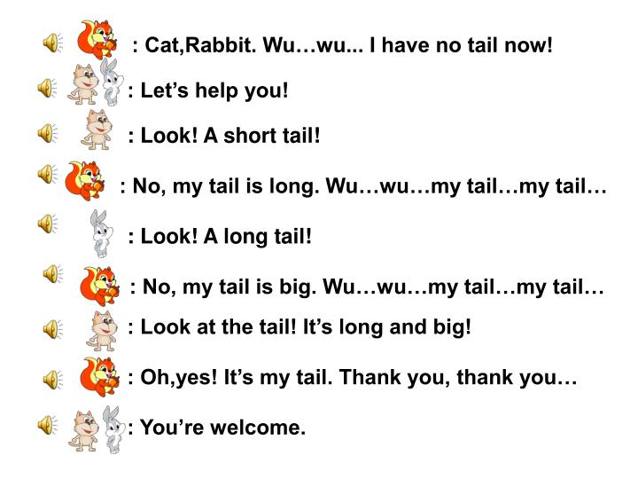 : Cat,Rabbit. Wu…wu... I have no tail now!
