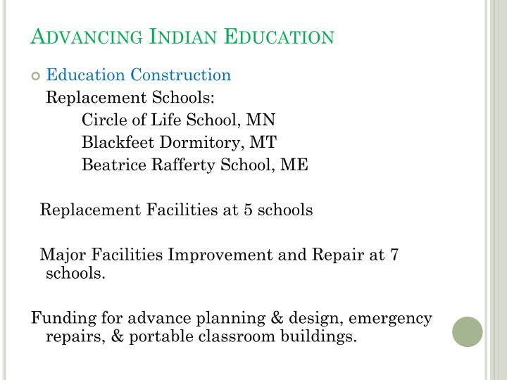 Advancing Indian Education