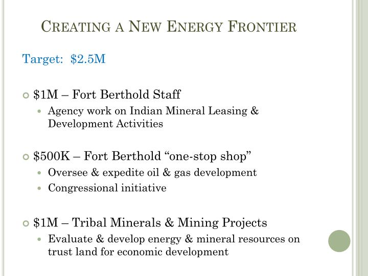 Creating a New Energy Frontier