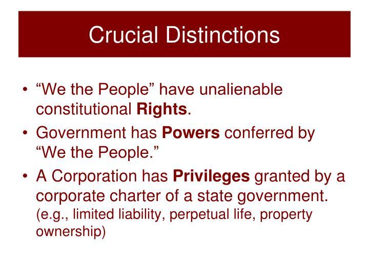 Crucial Distinctions