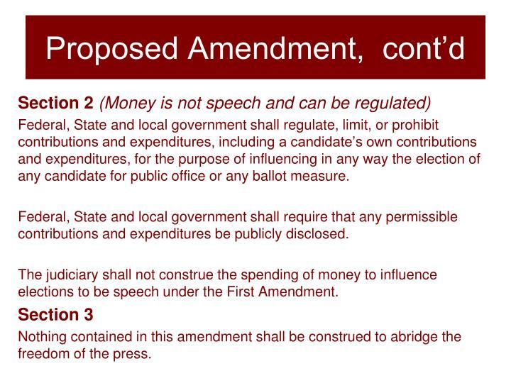 Proposed Amendment,  cont'd