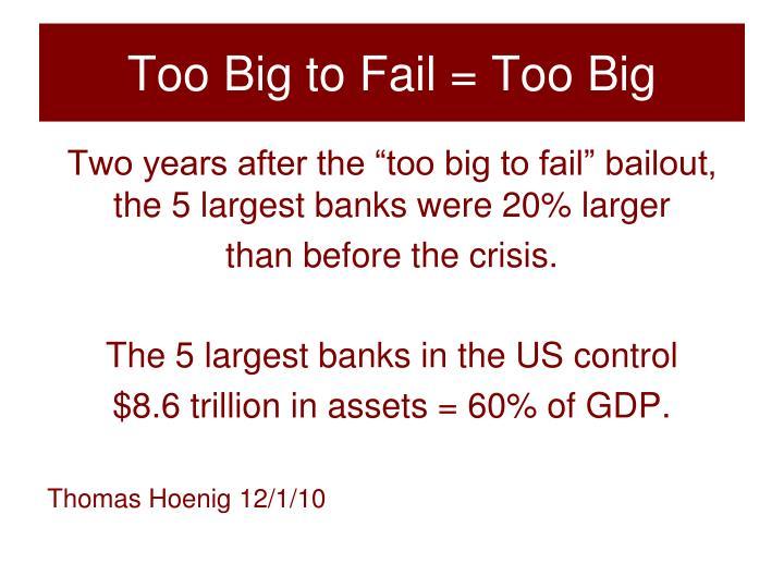 Too Big to Fail = Too Big