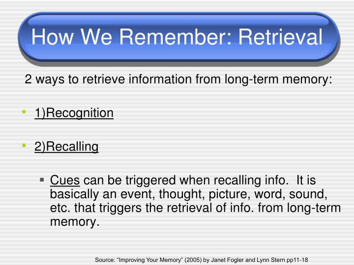 How We Remember: Retrieval