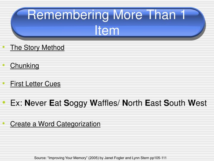 Remembering More Than 1 Item