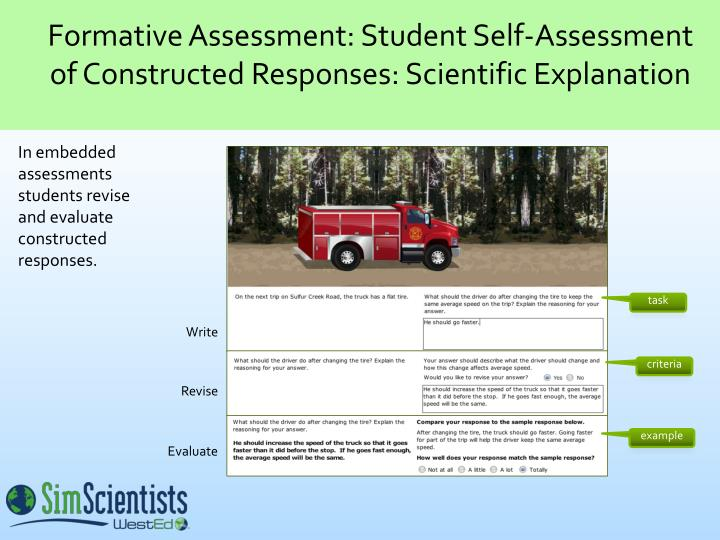 Formative Assessment: Student Self-Assessment of Constructed Responses: Scientific Explanation
