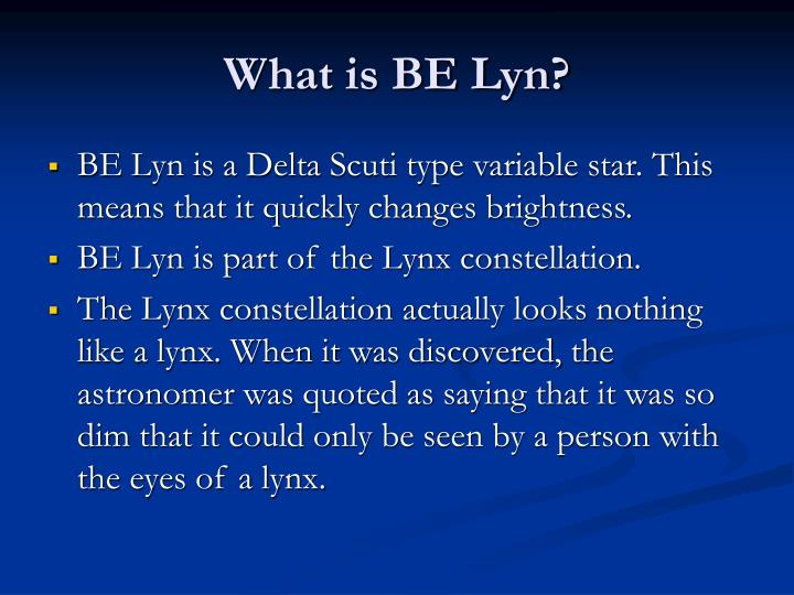 What is BE Lyn?