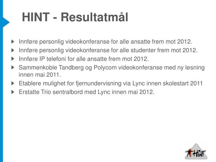 HINT - Resultatmål