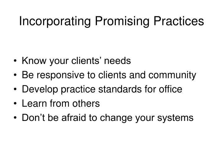 Incorporating Promising Practices