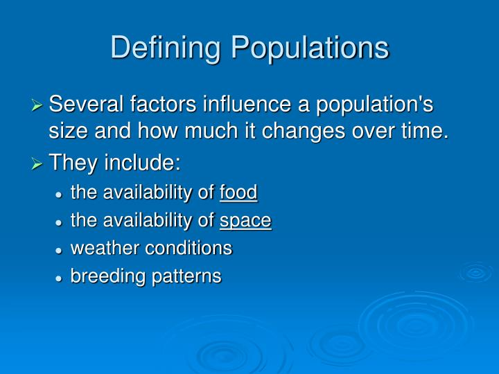 Defining Populations
