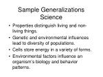 sample generalizations science