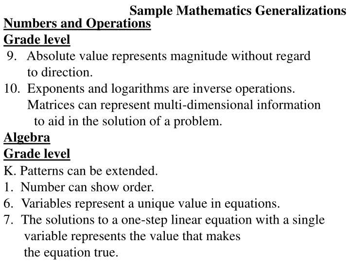 Sample Mathematics Generalizations