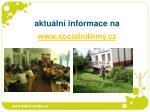aktu ln informace na www socialnifirmy cz