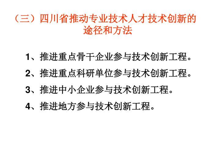 (三)四川省推动专业技术人才技术创新的