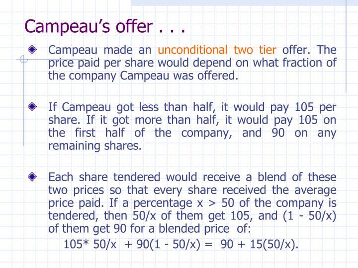 Campeau's offer . . .
