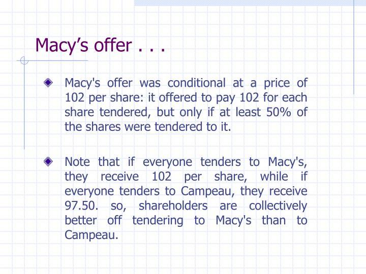 Macy's offer . . .