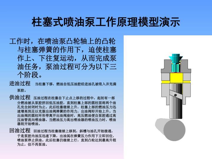 柱塞式喷油泵工作原理模型演示