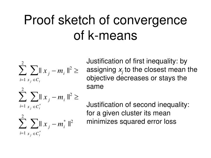 Proof sketch of convergence of k-means