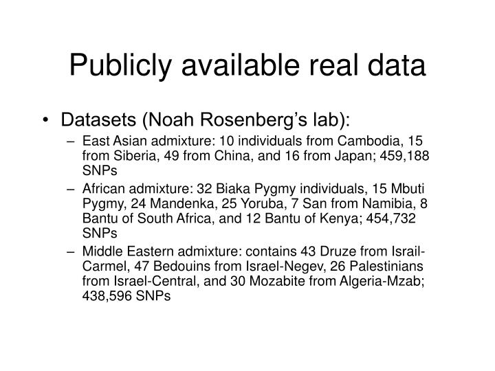 Publicly available real data