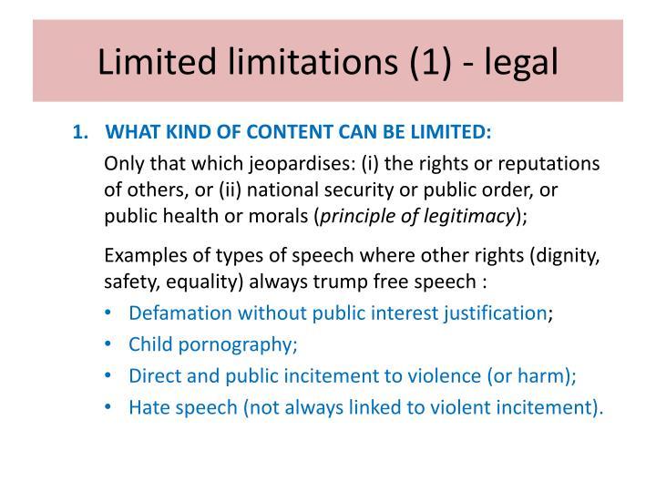 Limited limitations (1) - legal