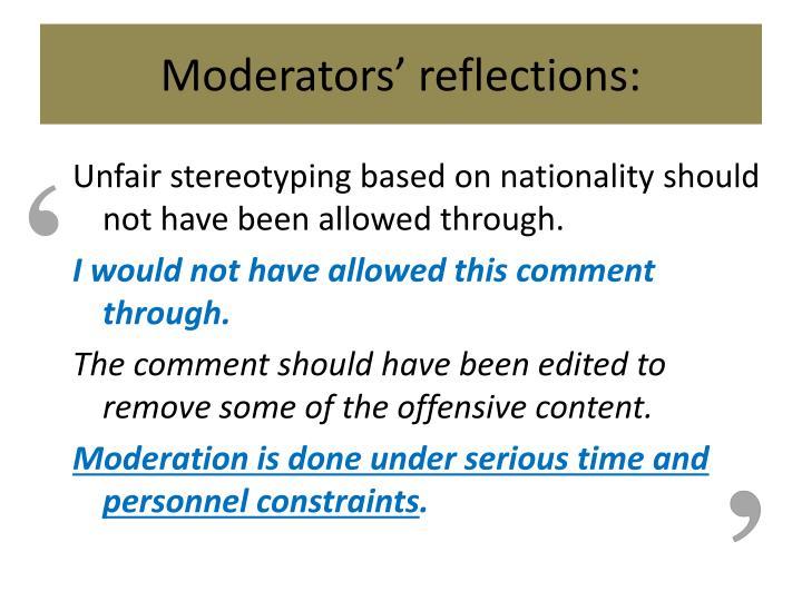 Moderators' reflections: