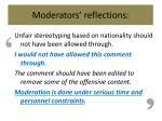 moderators reflections