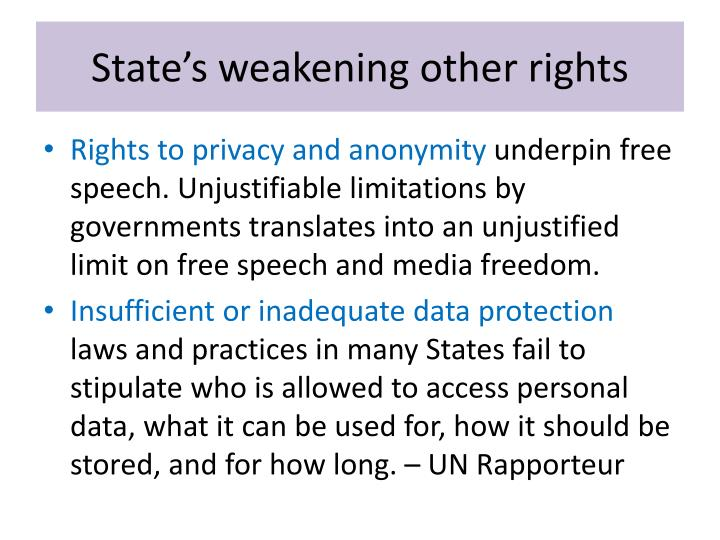 State's weakening other rights