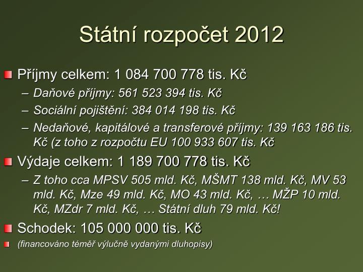 Státní rozpočet 2012