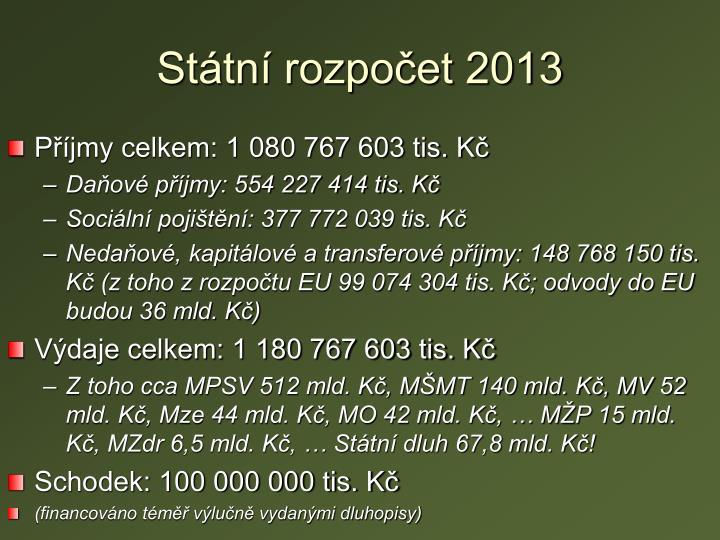 Státní rozpočet 2013