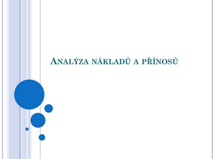 Analýza nákladů a přínosů