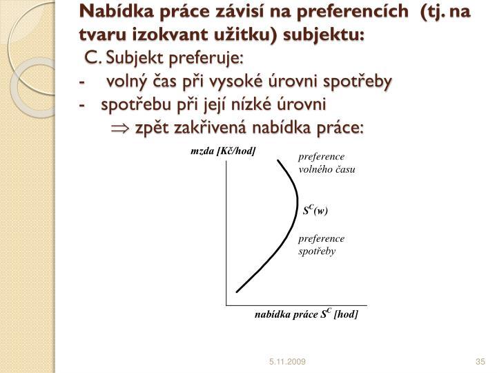 Nabídka práce závisí na preferencích  (tj. na tvaru