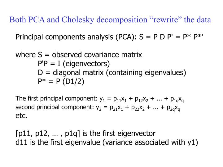 """Both PCA and Cholesky decomposition """"rewrite"""" the data"""