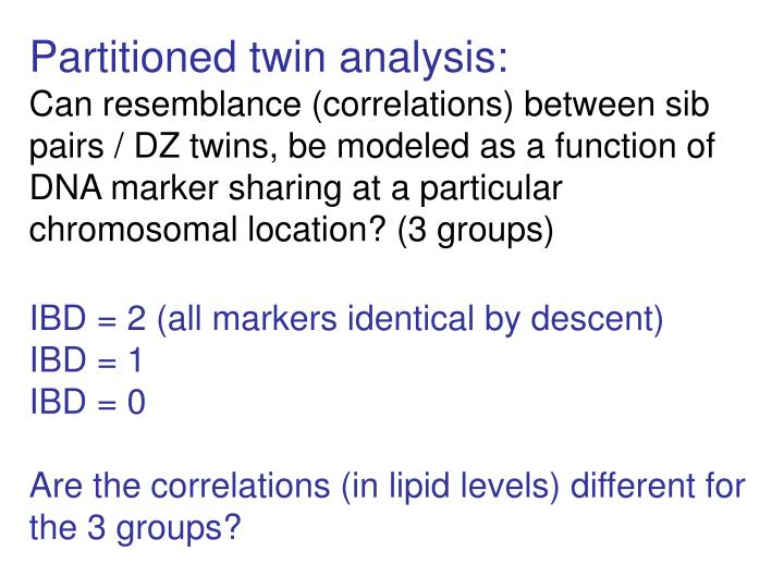 Partitioned twin analysis: