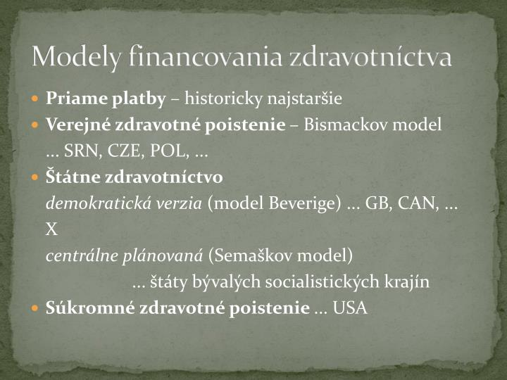 Modely financovania zdravotníctva