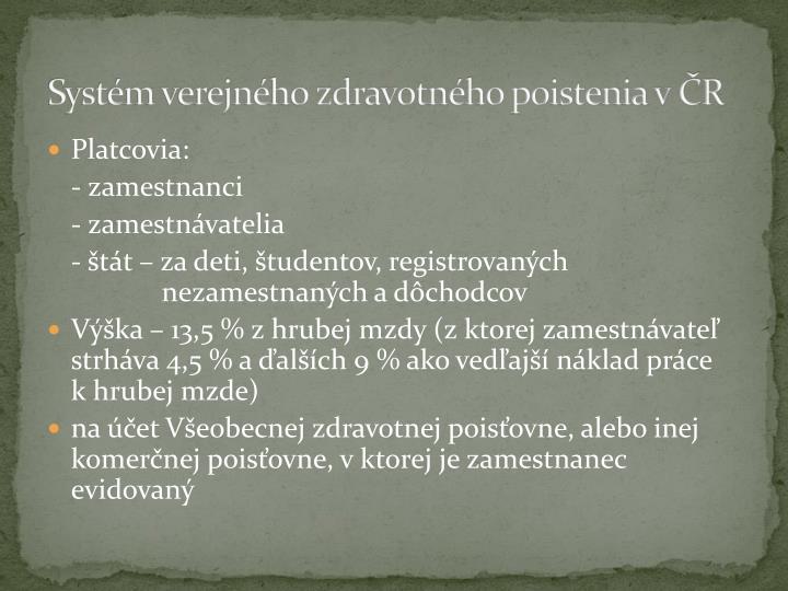 Systém verejného zdravotného poistenia v ČR