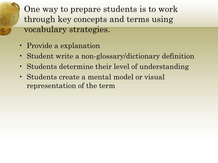 One way to prepare students is to work through key concepts and terms using vocabulary strategies.