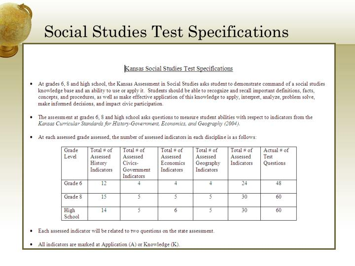 Social Studies Test Specifications